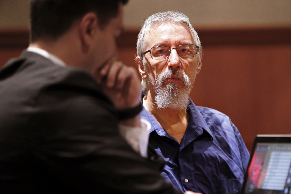 Burton Hagar, in court for a bail hearing Friday in Portland, is accused of killing his infant son 38 years ago.