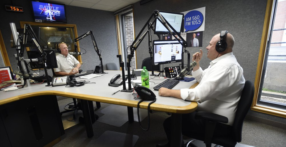 """WGAN's """"Morning News"""" hosts Ken Altshuler, left and Matt Gagnon spar on the air Friday in the station's South Portland studio. The political discourse on the show, punctuated with sound effects and banter about pop culture, has alienated some longtime listeners of the broadcast."""