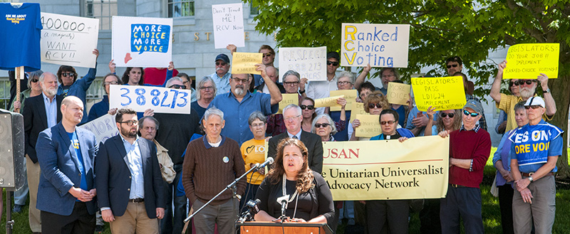 Former state Rep. Diane Russell of Portland speaks during Thursday's Rally To Defend Ranked Choice Voting.