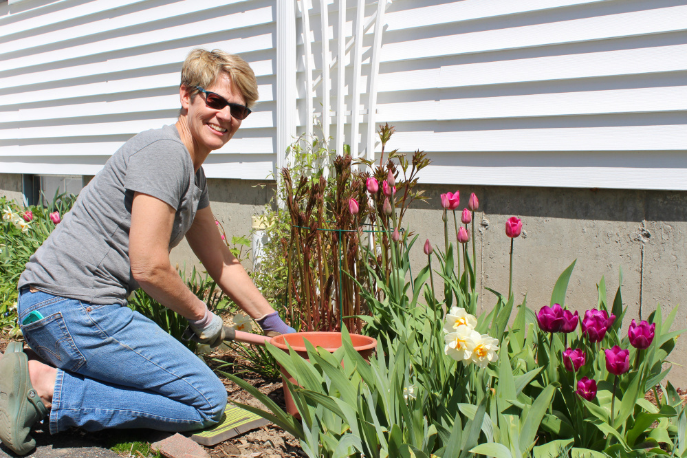 Contributed photo Beth Warren of the Waterville Community Garden Club pots plants for the club's plant sale set for 7 to 11 a.m. Saturday, June 3, at the First Congregational Church, Eustis Parkway, Waterville.