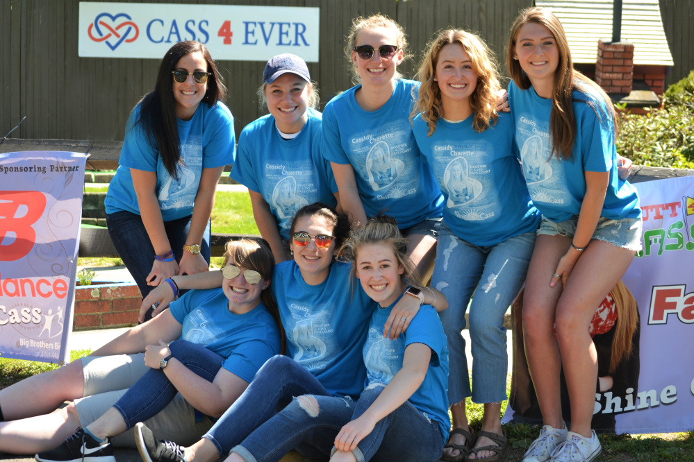"""Cassidy Charette's former Central Maine United Premier Soccer teammates honored their friend by participating in """"Putt 4 Cass"""" May 20 at Gifford's in Waterville. In front, from left, are Gabi Martin, Paige Smith and Emily Grandahl. In back, from left are Fotini Shanos, Sabrina Carey, Lindsey Perkins, Sammy Grandahl and Janna Elwell."""