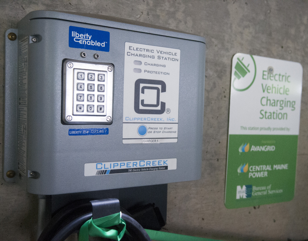 This charging station seen Friday is one of two new stations installed recently in the State House parking garage in Augusta.