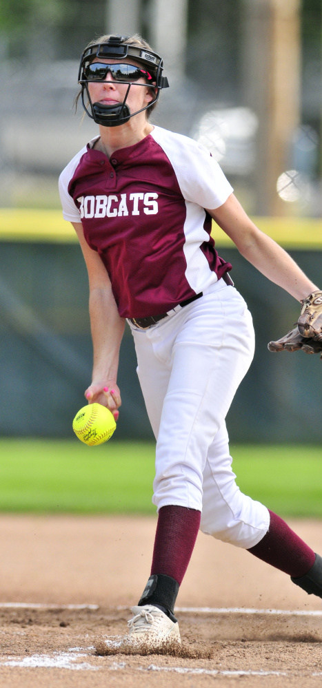 Richmond's Meranda Martin delivers a pitch against Greenville during the Class D South regional final Tuesday at St. Joseph's College in Standish.