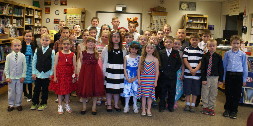 Forest Hills Elementary School students were honored for meeting their reading goals at a gala event on May 24. In front, from left, are Spencer Vining, Rory Danforth, Violet Haigis, Alyssa Stevens, Sarah Woithe, Shelby Veilleux, Nynah Hughey, Wyatt Guay, Jaxson Desjardins, Brennan Begin and Matthew Hall. Second row, from left are Kelsey Rancourt, Aaden Nadeau, Emma Vining, Macie Baker, Vaughn Varney, Landon Lemaire, Logan Lemaire and Chloe Crawford. Third row, from left are Carroll Frigon, Jacob Bennett, Alan Crawford, Allison Dunning, Kaira Veilleux, Elexus Bauer-Pelletier, Liam Achey, Landry Allen and Maddox Cuddy. In back, from left are Sean Mulhall, Aaron Obert, Garrett Rohr, Brady Birmingham, Blaine Nadeau, Addison Chaisson and Sidney Birmingham. Missing from photo are Remington Worster and Melynda Worster.