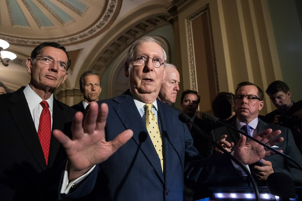 "Senate Majority Leader Mitch McConnell, R-Ky., joined by, from left, Sen. John Barrasso, R-Wyo., Sen. John Thune, R-S.D., and Majority Whip John Cornyn, R-Texas, speaks after a closed-door strategy session Tuesday. McConnell said Republicans will have a ""discussion draft"" of a bill to replace the Affordable Care Act by Thursday."