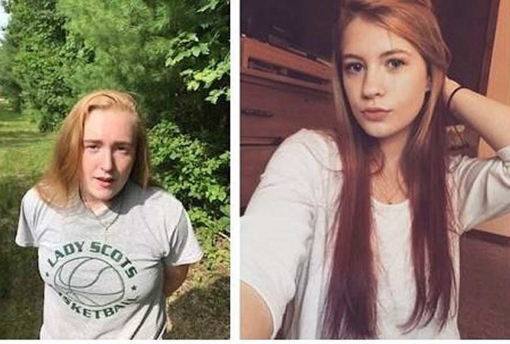 Police arrested Samantha Maxfield, 20, of Hollis, (left) for vandalism in Hollis Thursday morning. State Police are also looking to speak to Emma Lewis, 18, of Limington (right) as a person of interest.