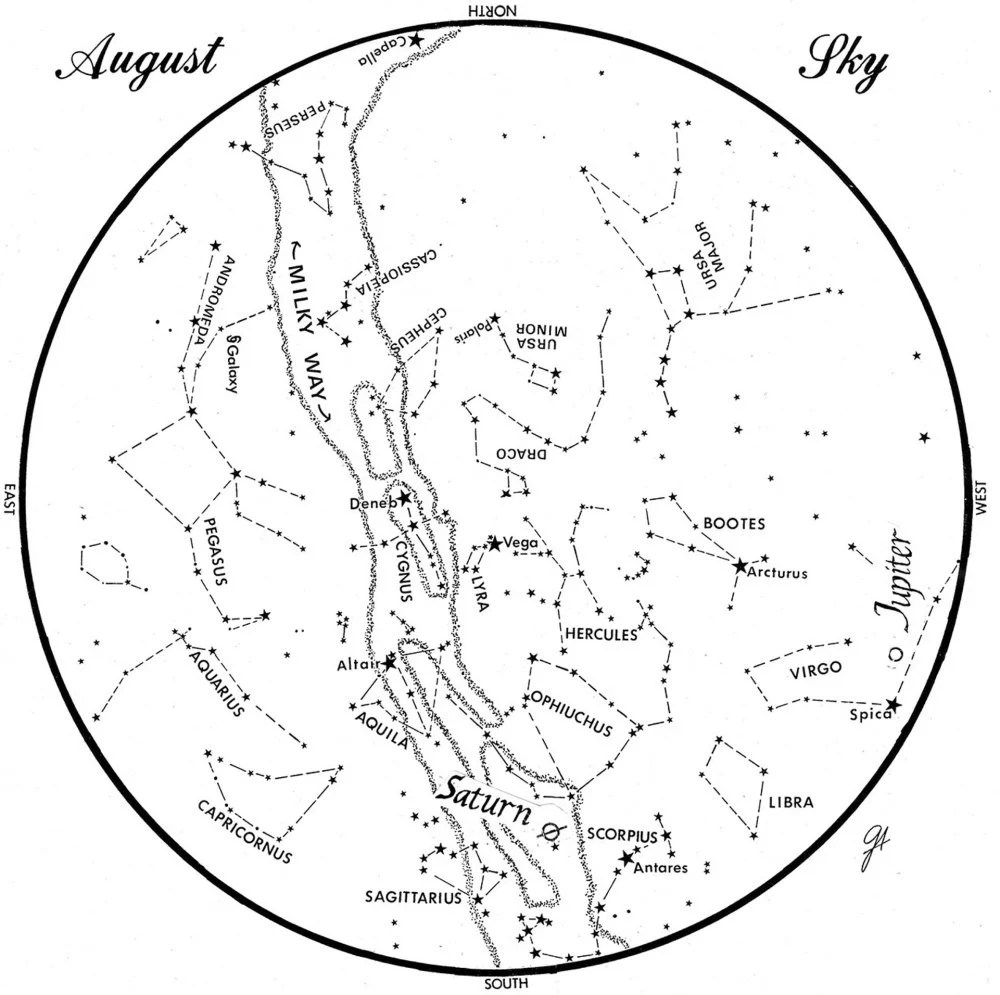 SKY GUIDE: This chart represents the sky as it appears over Maine during August. The stars are shown as they appear at 10:30 p.m. early in the month, at 9:30 p.m. at midmonth and at 8:30 p.m. at month's end. Saturn and Jupiter are shown in their midmonth positions. To use the map, hold it vertically and turn it so that the direction you are facing is at the bottom.