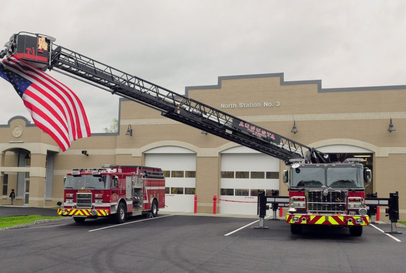This file photo shows the Augusta Fire Department's new truck, Tower 1, parked May 25 at the new North Station #3 in Augusta. The truck has been sent back to Connecticut for repairs.