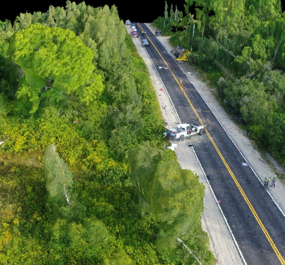 A photo taken by a Maine State Police drone shows a recent crash in Northfield that involved a pickup truck crashing into a blueberry truck.