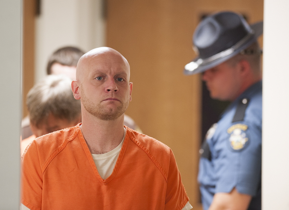 Robert Burton, 38, enters the courtroom in 2015 at Piscataquis County Superior Court in Dover-Foxcroft. Burton goes on trial Monday at the Penobscot Judicial Center in Bangor in connection witn the June 5, 2015, slaying of Stephanie Ginn Gebo, 37, who was found dead inside her Parkman home by her two children.