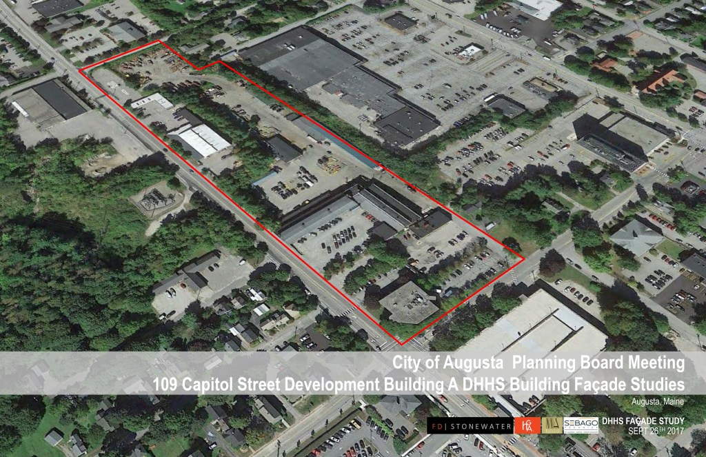 An image submitted to the Augusta Planning Board outline the space where a new state office building is planned.