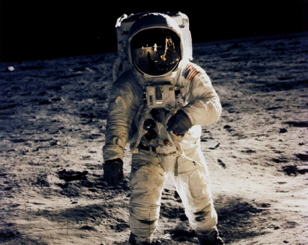 "Astronaut Edwin ""Buzz"" Aldrin walks on the moon on July 20, 1969, photographed by fellow astronaut Neil Armstrong."