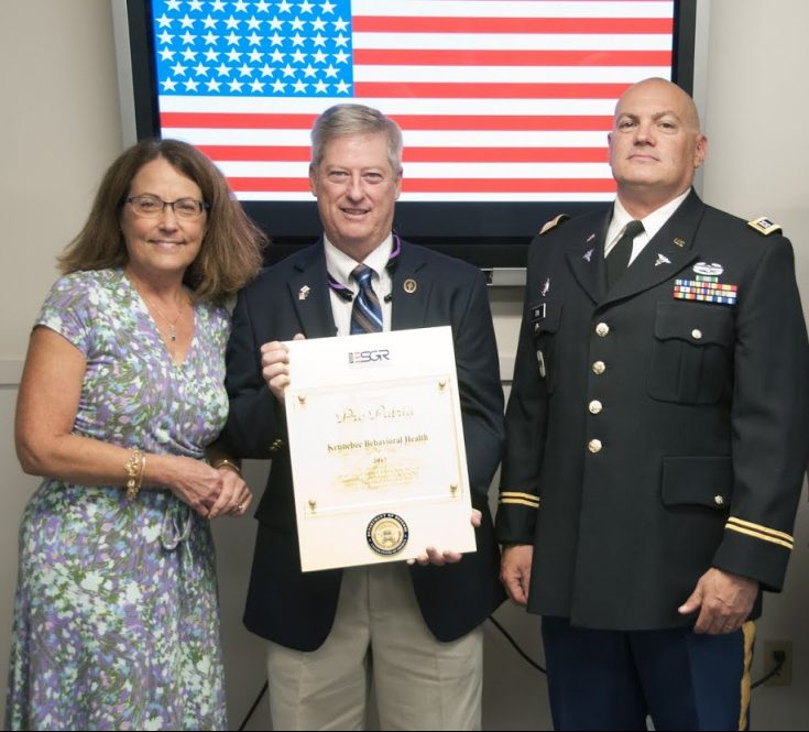 From left are Cheryl Davis, Kennebec Behavioral Health administrator of community services; Sgt. 1st Class Mark Evans, retired, Special Operations Command; and KBH clinical supervisor Capt. Dennis Dix, U.S. Army Reserve Medical.