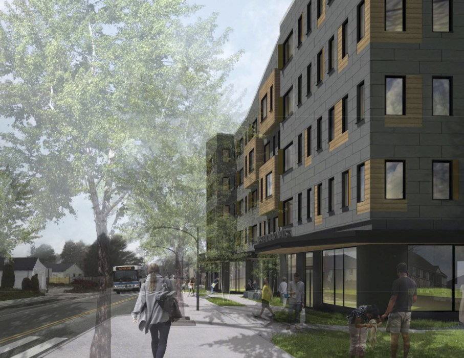 A rendering depicts the 64-unit West End Apartments proposed for 586 Westbrook St. in South Portland with commercial space on the ground floor.