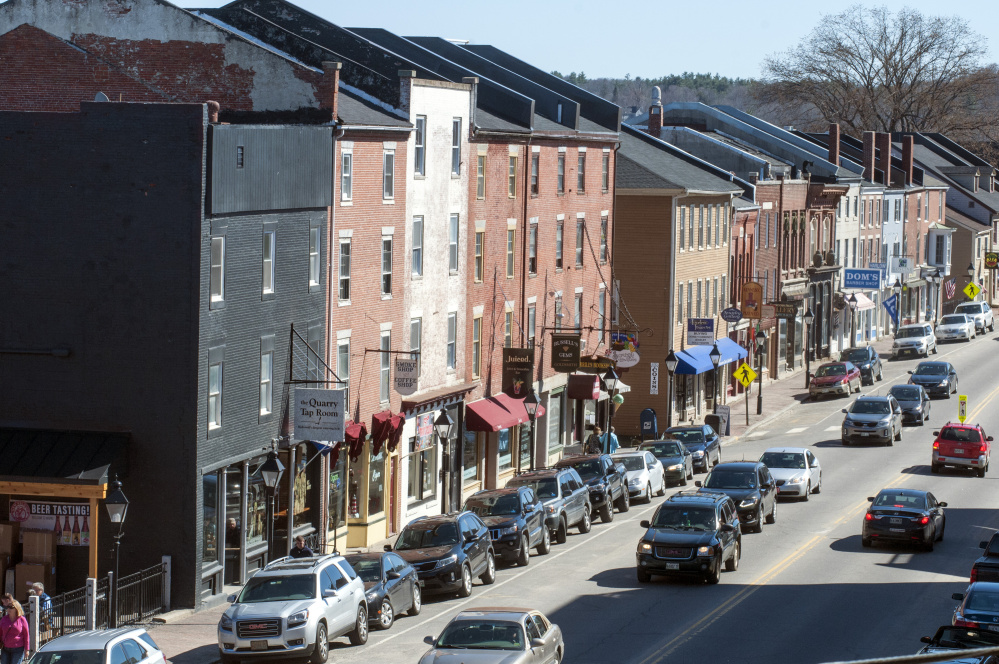 Water Street in Hallowell, shown in this April file photo, will begin to undergo some work this fall, with full reconstruction set for next year.