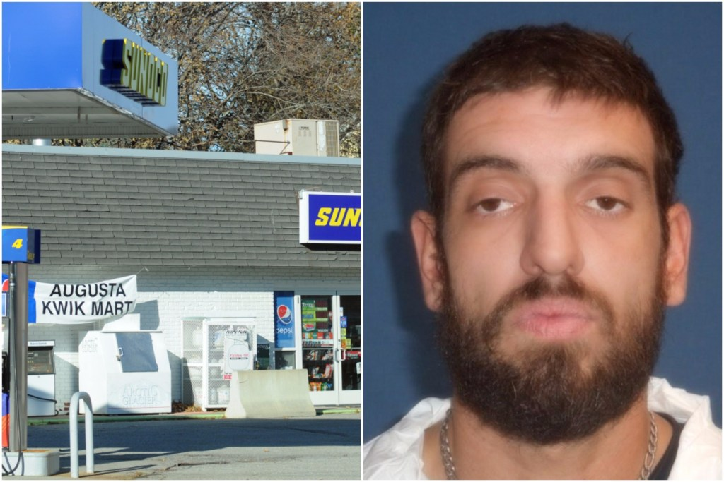 Augusta police say a Windsor man, Anthony Manganella, at right, robbed this Western Avenue convenience store Thursday, at left.