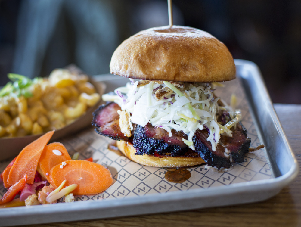 """Eating Noble Barbecue's brisket sandwich is """"like listening to the kinetic key changes of a jazz improvisation."""""""