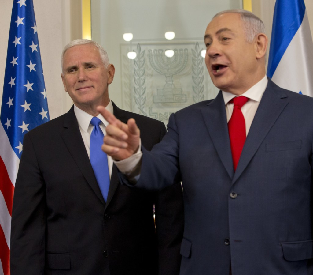 Vice President Mike Pence meets with Israel's Prime Minister Benjamin Netanyahu in Jerusalem on Monday. Pence is the first U.S. vice president to address the Knesset.