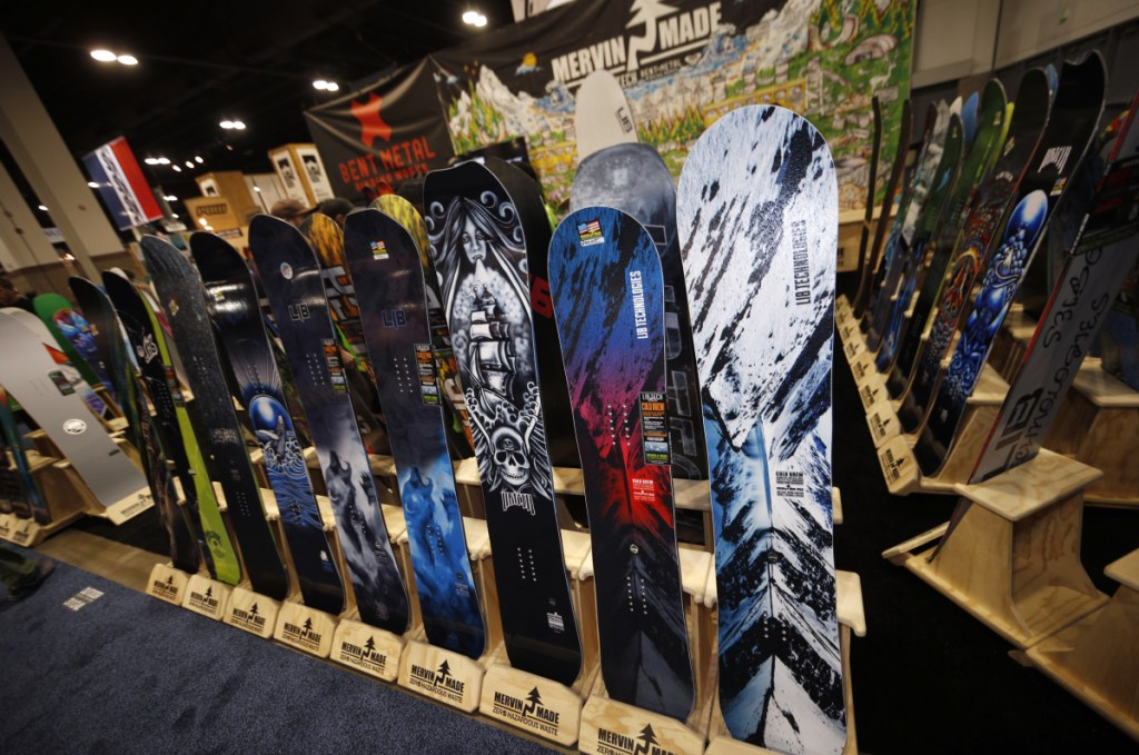 Snowboards are on display at the Outdoor Retailers and Snow Show in the Colorado Convention Center in Denver this week, the largest U.S. trade show for the outdoor and winter sports industries, which represent $887 billion in sales.