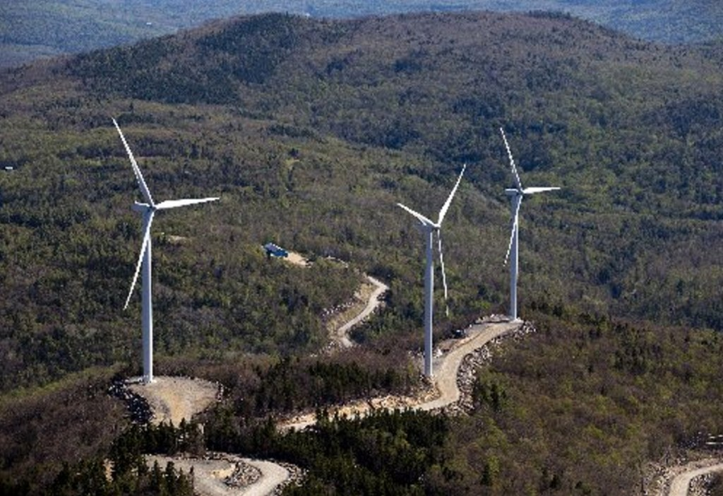 Turbines on a ridge south of Webb Lake in Weld. Renewable energy groups are girding for a legal challenge for Gov. Paul LePage's order halting new permits for wind power projects.