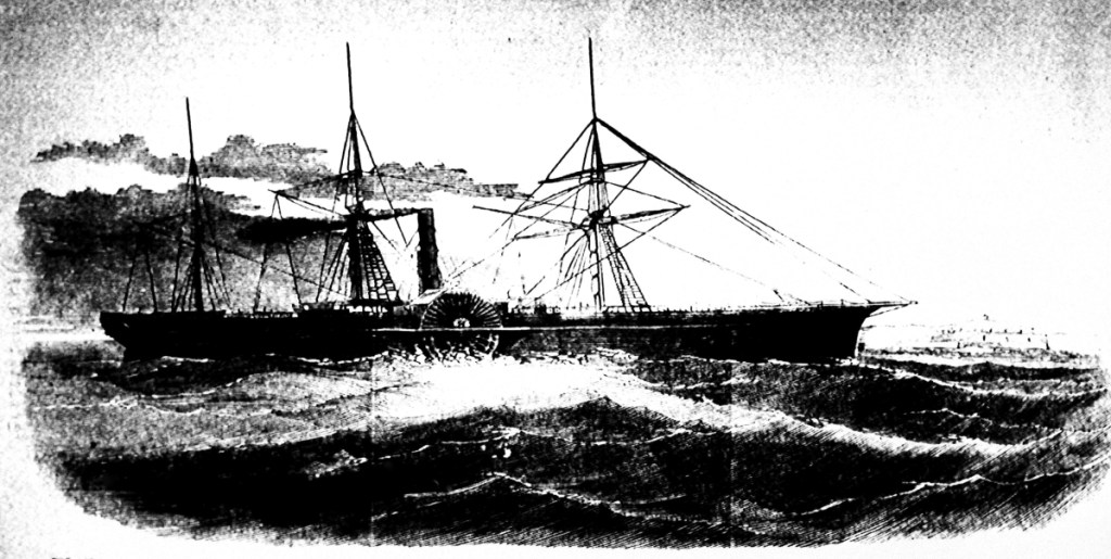 Drawing made available by the Library of Congress shows the U.S. Mail ship S.S. Central America, which sank after sailing into a hurricane in September 1857.