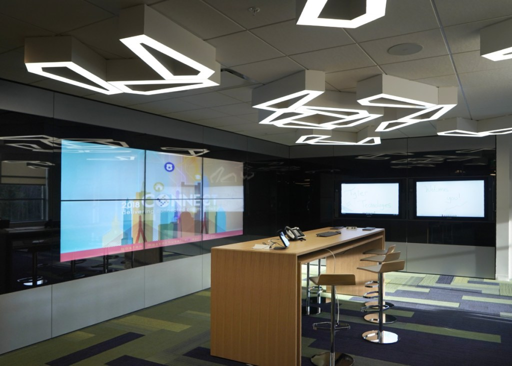 In this client lab, customers who use or are adapting software developed by Tyler Technologies can become acquainted with the software products the company develops. The lab is located in an addition that the company added to their Yarmouth headquarters. The company, which develops software for municipalities and towns, held an open house on Wednesday, January 31, 2018 to show off their new office space in their Yarmouth facility.