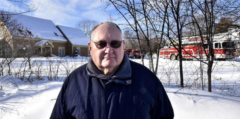 """On the Trafton Road in Waterville near his neighbor's home that was seriously damaged by fire on Wednesday, Harold """"Dusty"""" Woodside said, """"It's an awful shame this happened. They are wonderful people."""""""