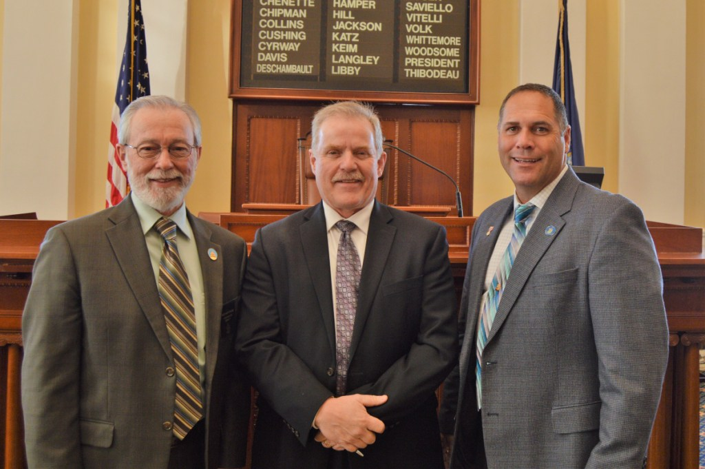 Sen. Rod Whittemore, left, with the Rev. Mark Tanner and Rep. Brad Farrin.