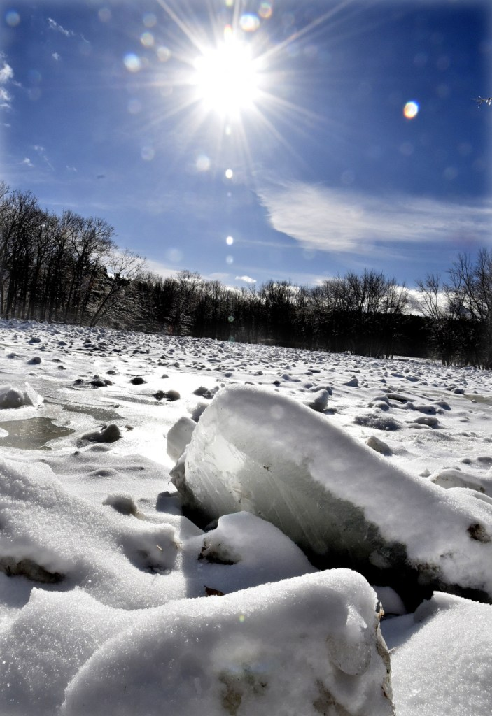 Mike Smith, emergency management director for Somerset County, said officials are keeping their eyes on a significant ice jam in the Carrabassett River off Katie Crotch Road in Embden, where these chunks of ice are piling up.