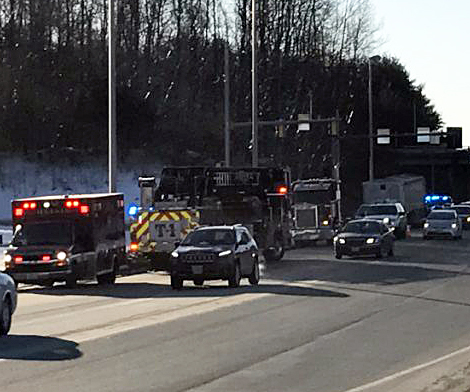 Emergency crews respond to Civic Center Drive in Augusta Friday morning after a semi truck broke down, prompting the closure of exit 112 on- and off-ramps.