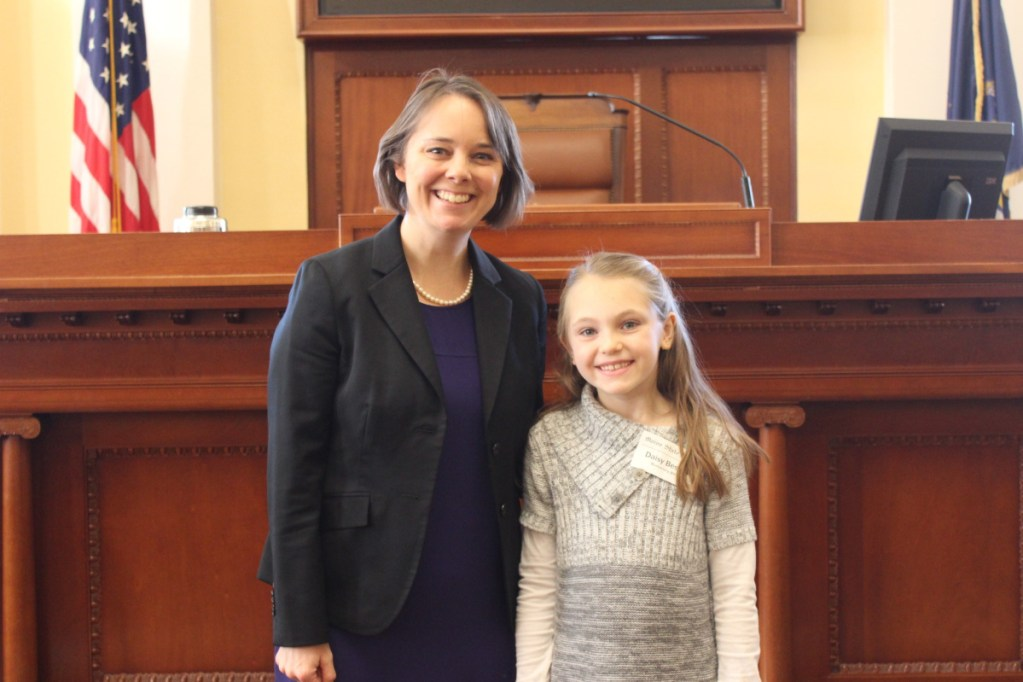 Kennebec Montessori student Daisy Bessey, right, spent a day with Sen. Bellows as an Honorary Page.