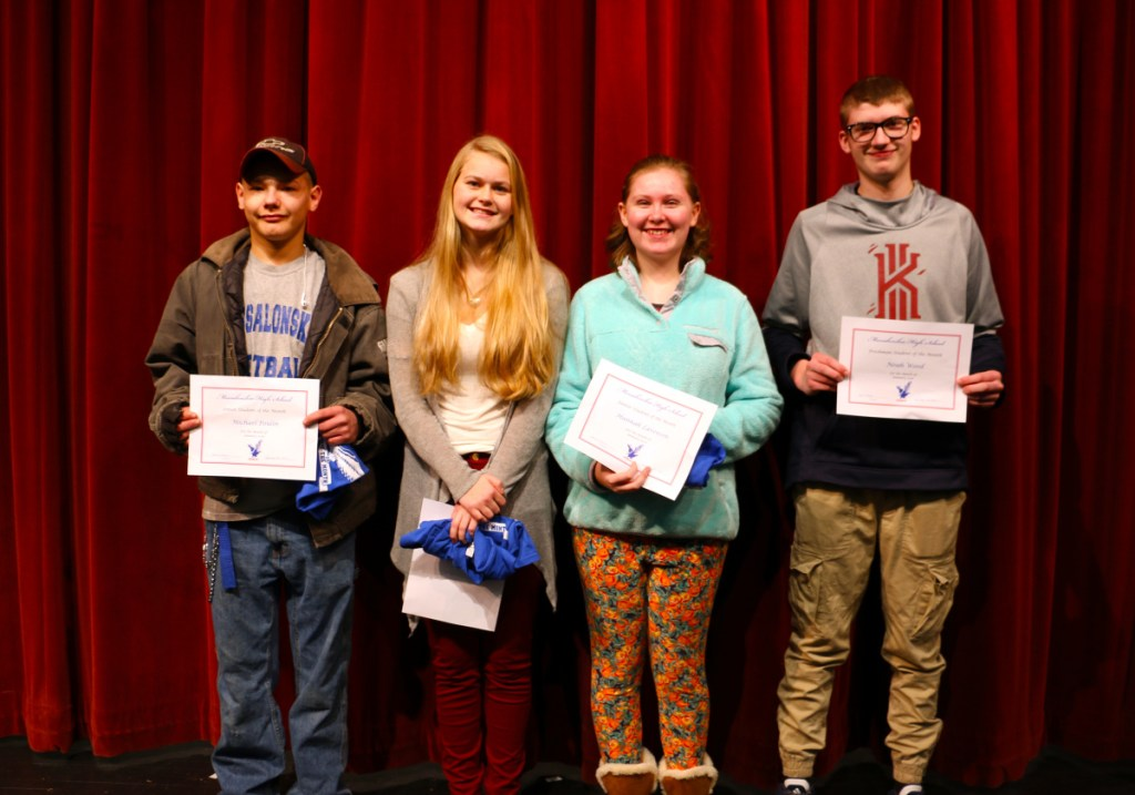 Messalonskee High School January Students of the Month, from left, are senior Michael Poulin, junior Molly Calkins, sophomore Hanna Lavenson and freshmanNoah Wood.