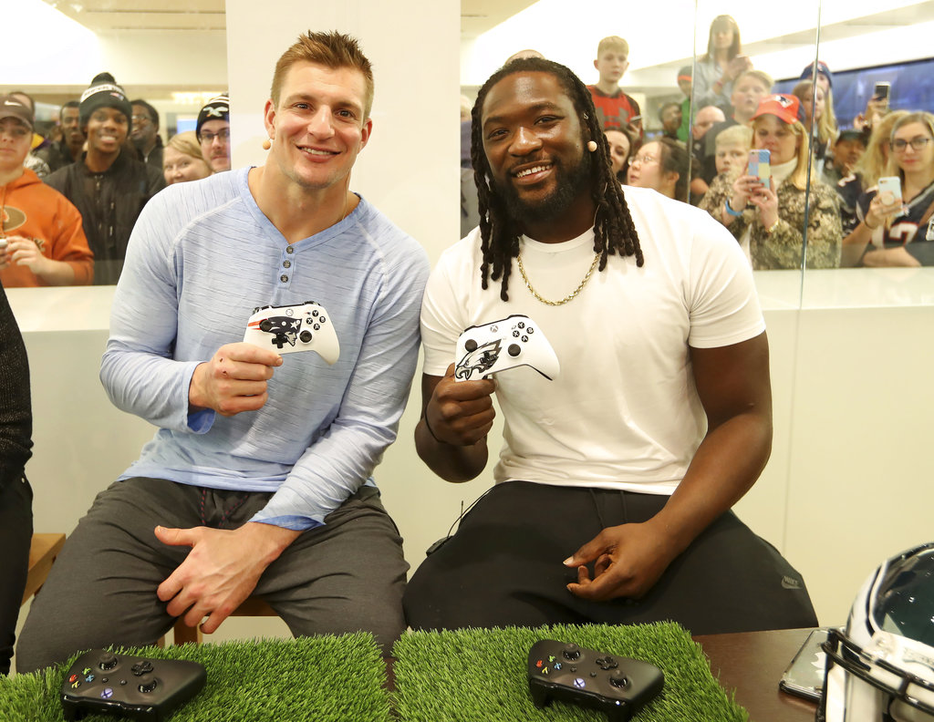 Rob Gronkowski and LeGarrette Blount join Xbox Live Sessions: Super Bowl Edition at the Microsoft Store at Mall of America on Tuesday.