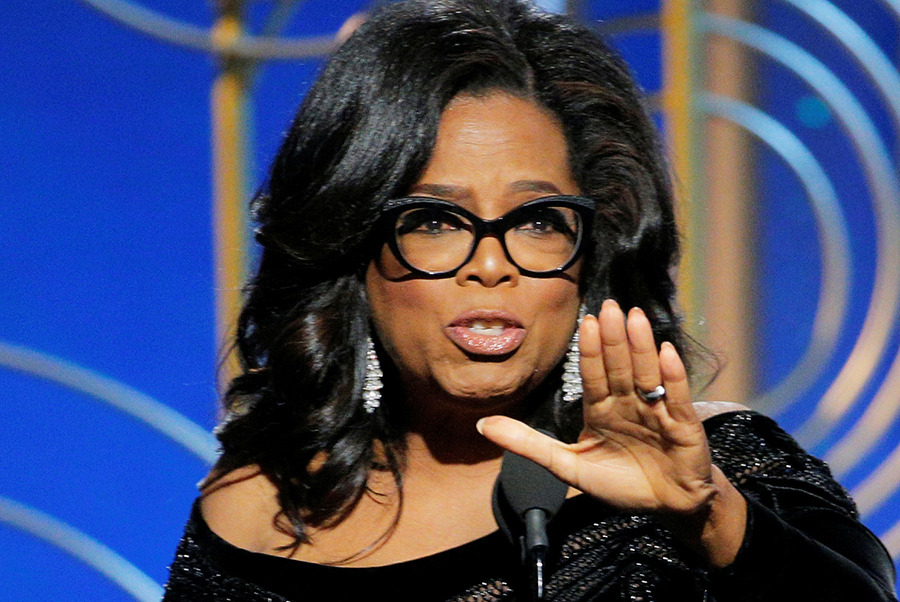 Oprah Winfrey speaks after accepting the Cecil B. Demille Award at the 75th Golden Globe Awards.