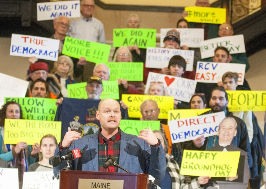 Kyle Bailey, campaign manager for the Committee for Ranked Choice Voting, speaks at a rally Feb. 2 at the State House in Augusta.