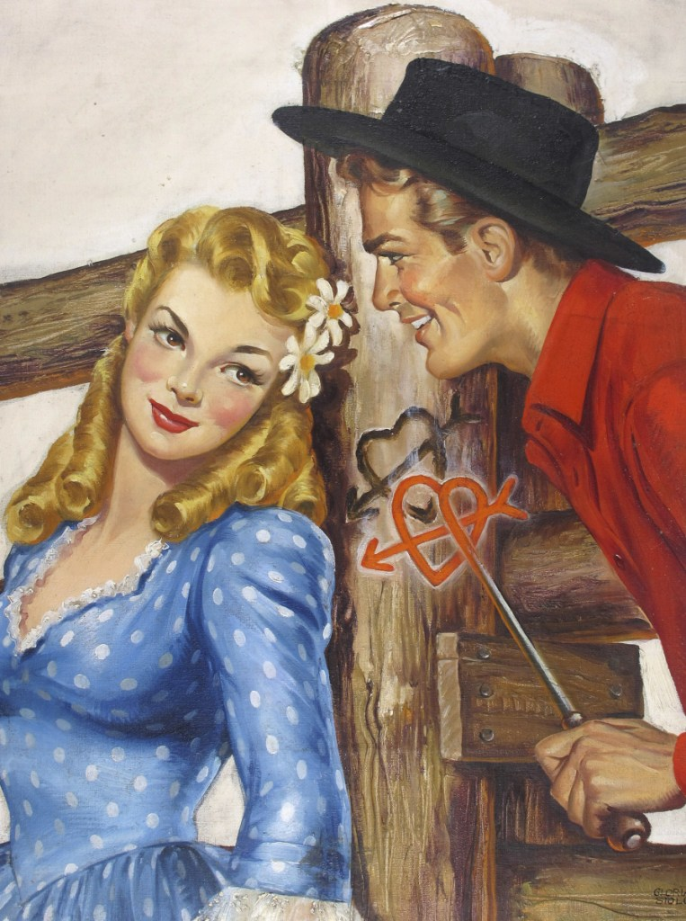 "The oil on canvas painting ""Couple with Heart Branding Iron,"" by Gloria Stoll Karn. Stoll Karn, who was an illustrator of pulp crime and romance magazines during the 1940s, plans to attend the opening Saturday of an exhibition of her works at the Norman Rockwell Museum in Stockbridge, Mass."