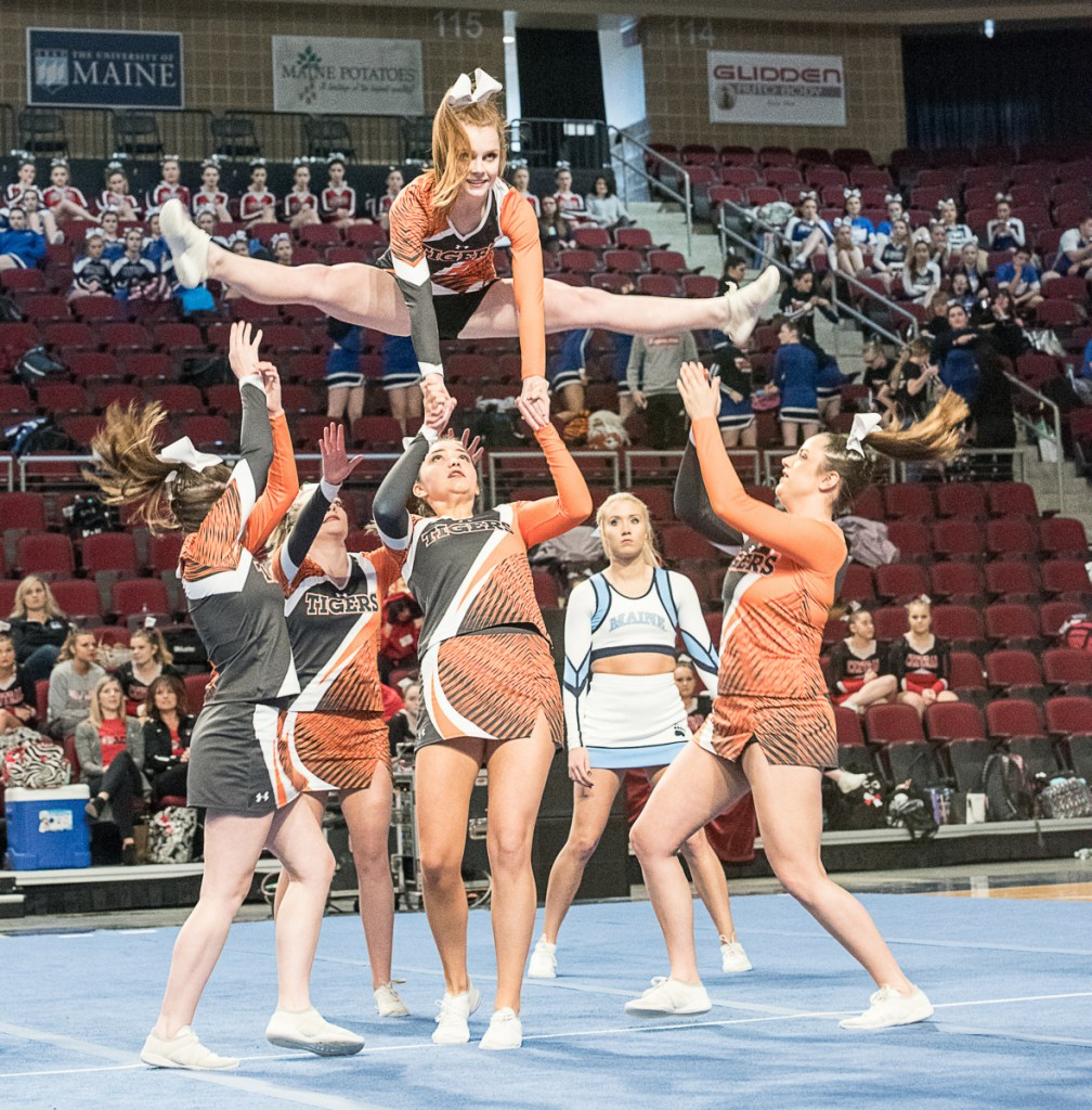 The Gardiner Tigers compete in the Class B state cheerleading championships Saturday in Bangor.