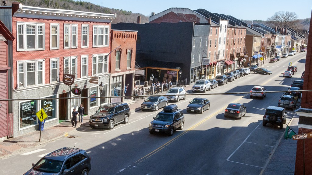 This April 14, 2017, photo shows Water Street in Hallowell.