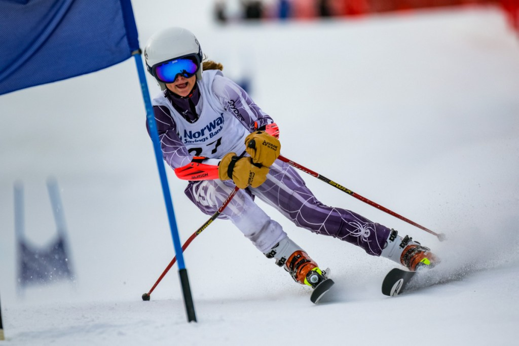 Mt. Blue's Ellie Pelletier skis the lower part of the giant slalom course during  her second run at the class A alpine championships Friday at Mt. Abram in Greenwood. Pelletier finished third in the event.