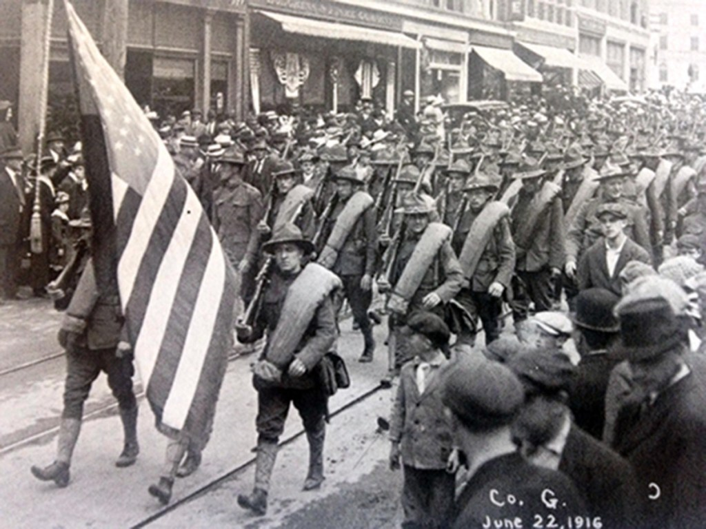 Maine soldiers who mobilized during World War I included two units bound for Texas, pictured here on paradeon June 22, 1916, in Bangor.
