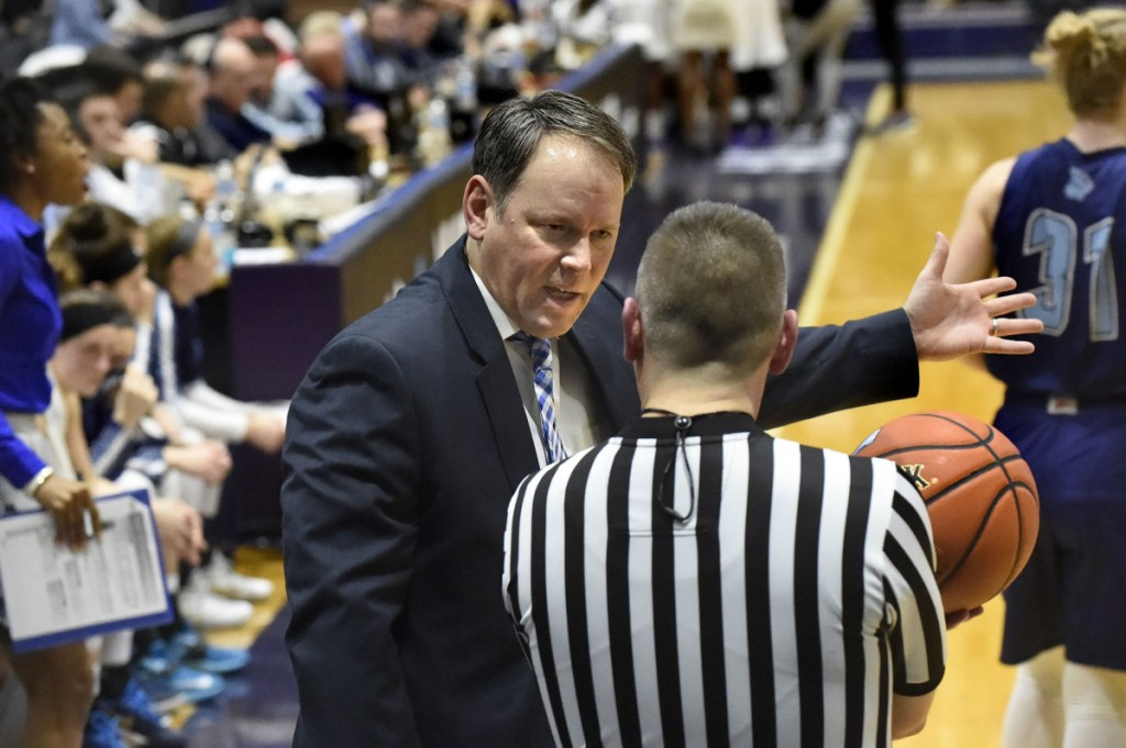 Richard Barron has words with an official during the America East women's basketball championship game at Albany, N.Y., in March 2016. Barron was announced as Maine's new men's basketball coach Monday.
