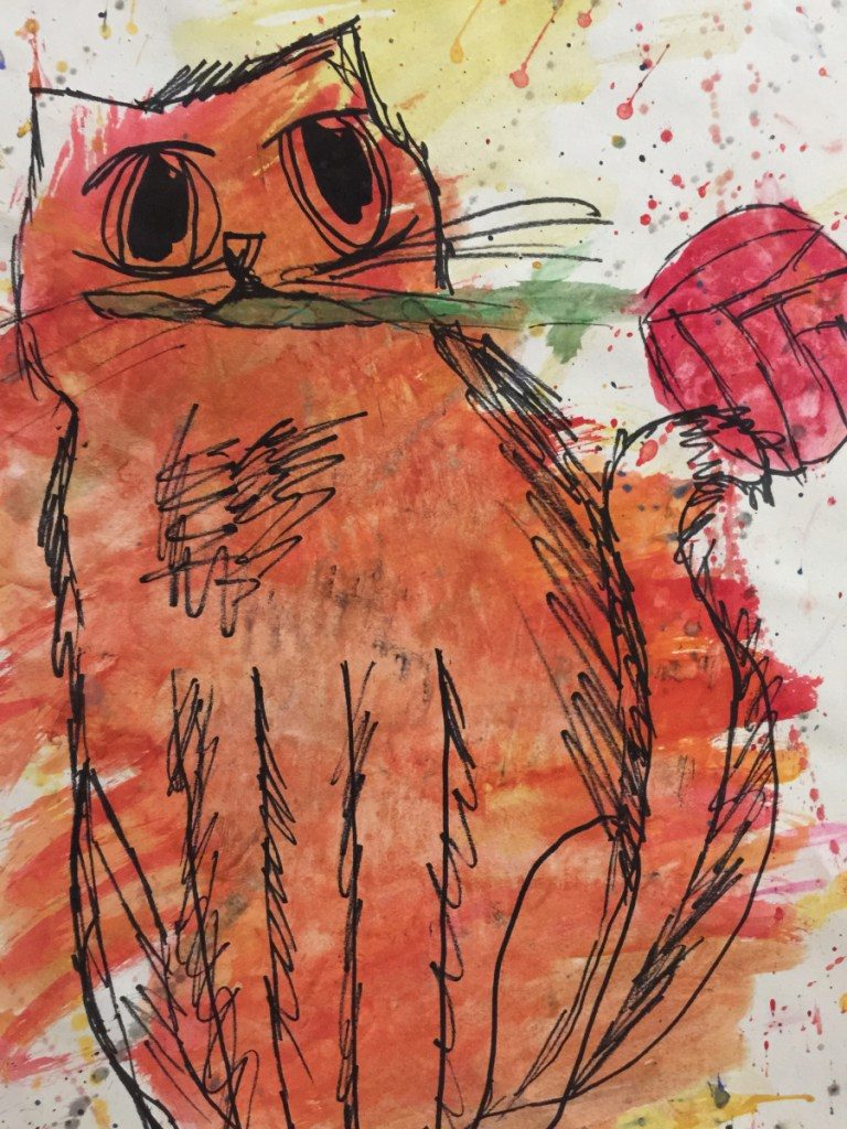 """""""Cat with Rose,"""" a watercolor and ink by Brooke Caswell, a sixth grader from Madison Junior High School."""