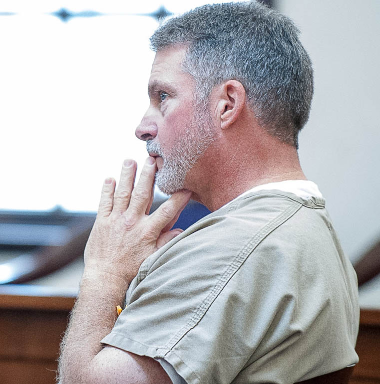Bartolo Ford, shown during 2017 court hearing in Androscoggin County Superior Court in Auburn, has lost his bid for a new trial on charges that he tried to kill Auburn police officers during a chase in 2008.