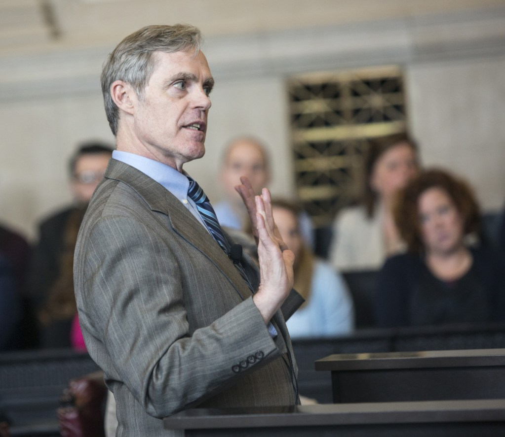 Tim Woodcock, the attorney representing the state Senate, makes his case Thursday before the Maine Supreme Judicial Court.