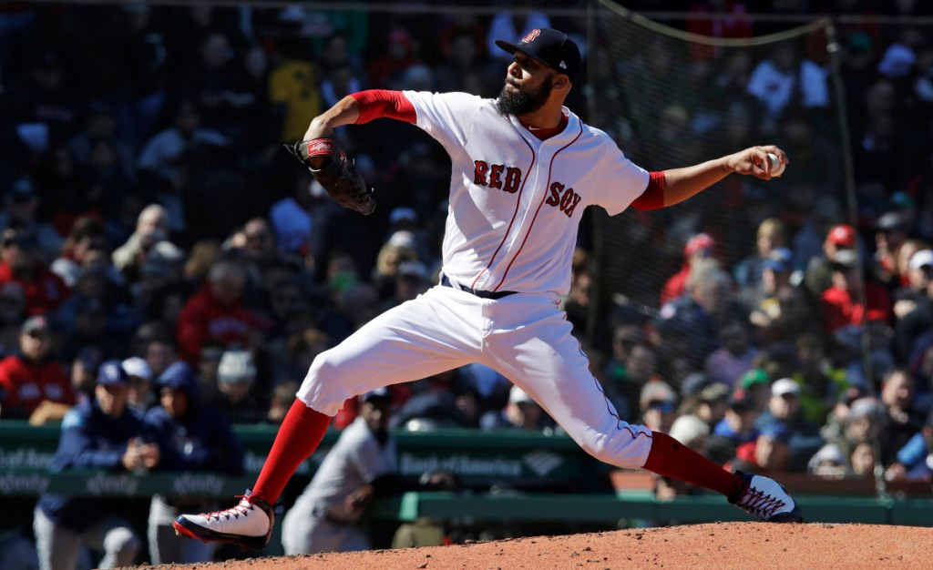 Boston Red Sox starting pitcher David Price delivers during the third inning Thursday in Boston.