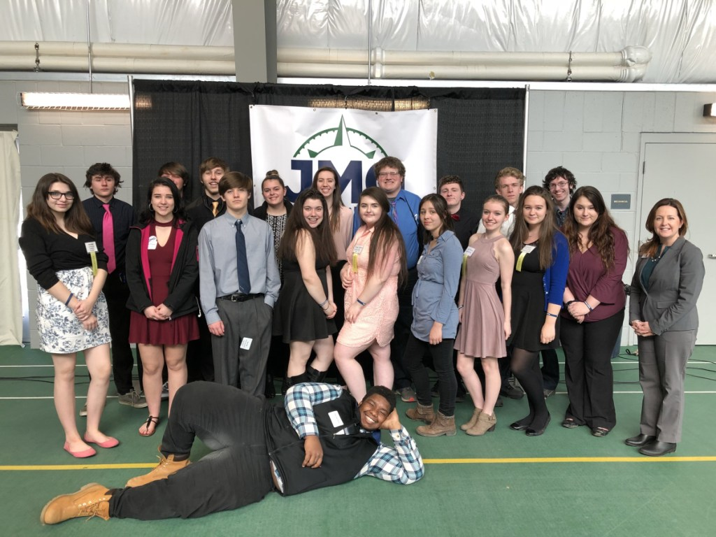 Waterville students at the Jobs for Maine Grad's annual Career Development Conference on March 27 at Thomas College. Rasheed Parker is on the floor. Standing, front from left, are Cloie Wahl, Meghan Douglass, Sam Pike, Kolbie Soltow, Hope Cogswell, Julia Schutz, Lexi Hawkins, Mickayla Crowley, Kiara Holbrook and JMG Specialist Dana Bushee. Back, from left, are Kory Drake, Tait Blethen, Nick Wildhaber, McKayla Nelson, Sage Hafenecker, Gareth Belton, Jacob Taylor, Cody Belton and Brandon Morgan.