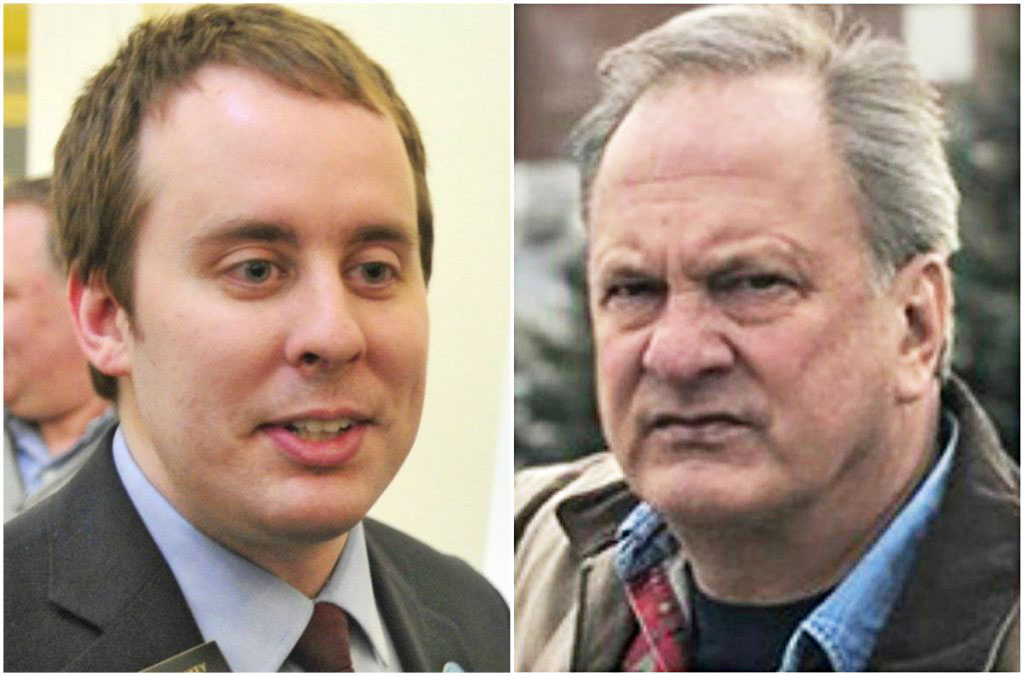 """Republican U.S. Senate candidate Max Linn, right, has said his petition was """"sabotaged"""" by the campaign of his primary opponent, state Sen. Eric Brakey, left. Maine's secretary of state says there's no evidence of that."""
