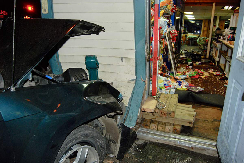 Contents inside the 'Keag Store are strewn over the floor after a crash early Saturday.