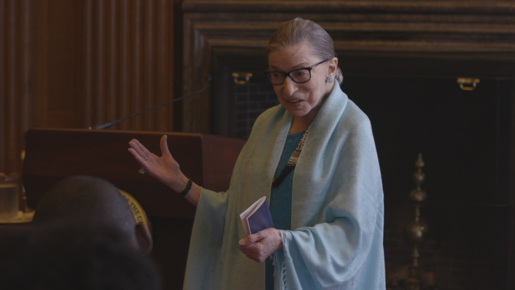 """Ruth Bader Ginsburg is a scene from """"RBG."""""""
