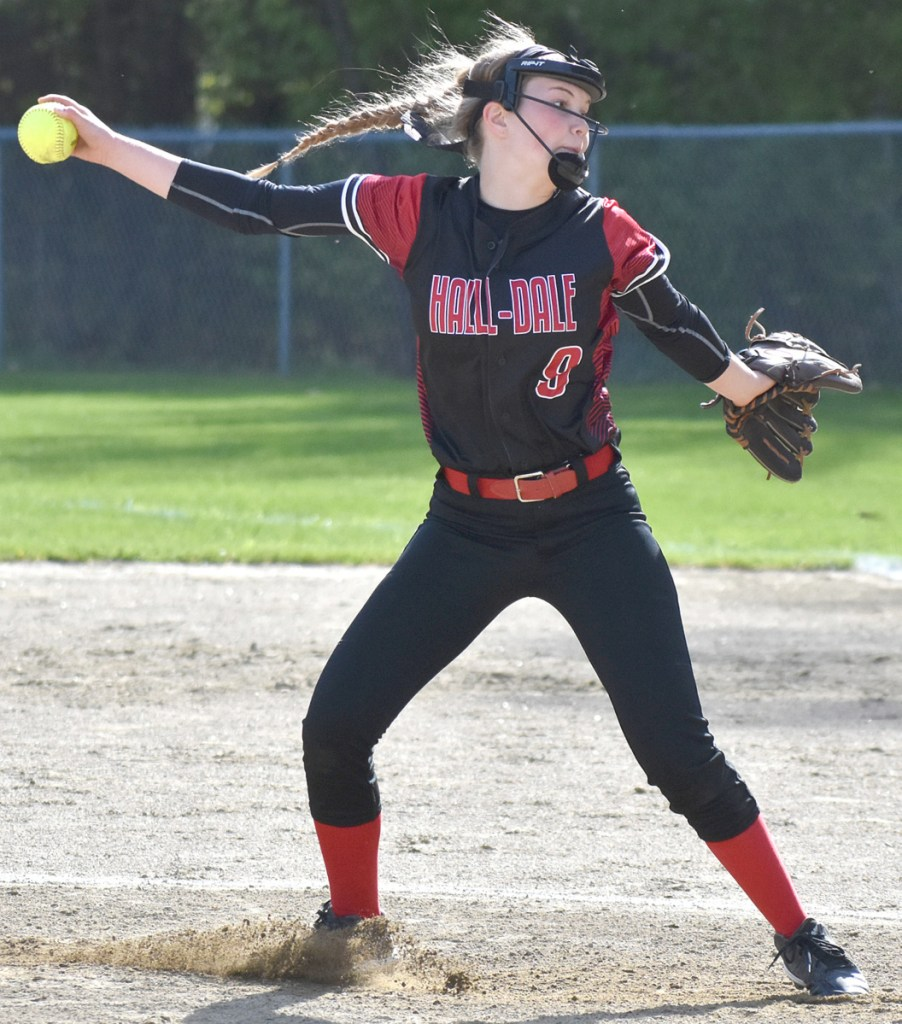 Hall-Dale freshman pitcher Sarah Benner goes through her delivery during a loss Wednesday to Oak Hill in Wales.